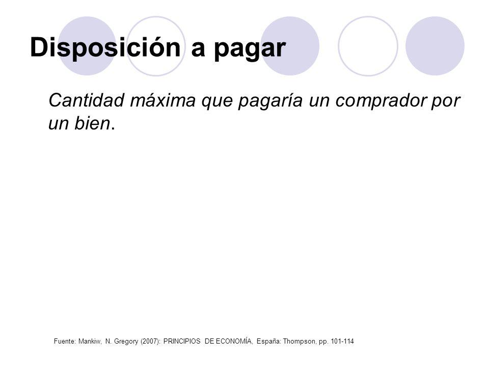 Disposición a pagar Cantidad máxima que pagaría un comprador por un bien. Fuente: Mankiw, N. Gregory (2007): PRINCIPIOS DE ECONOMÍA, España: Thompson,