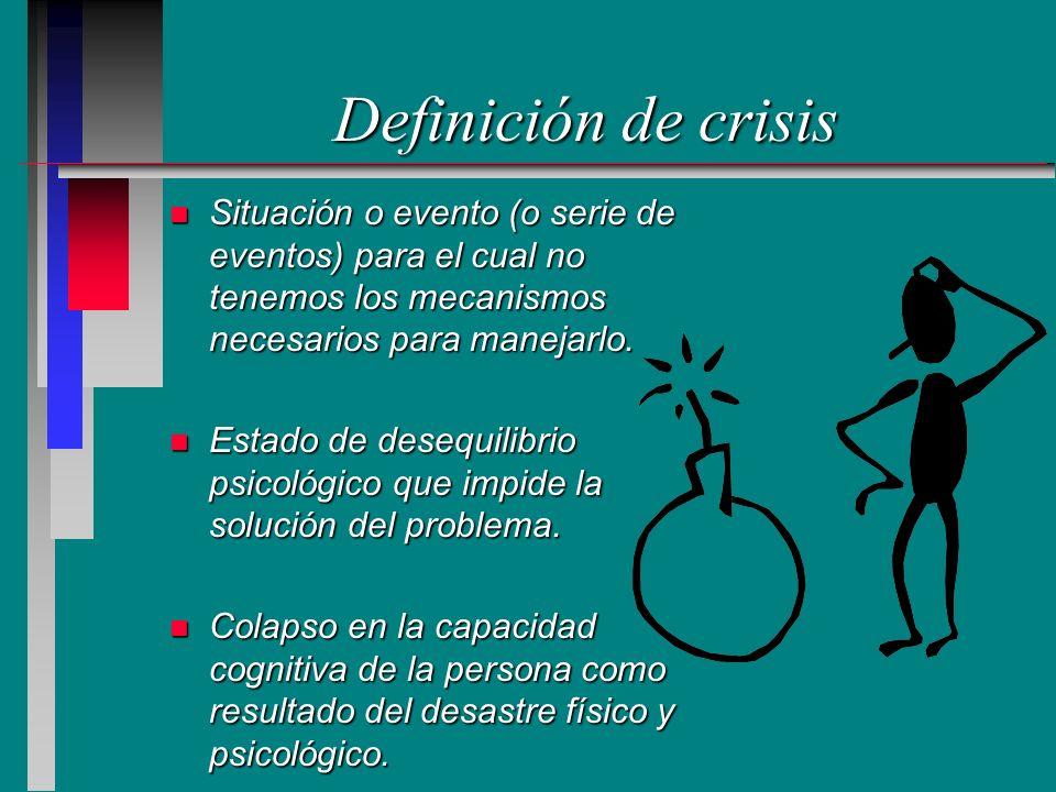 Definición de crisis n Situación o evento (o serie de eventos) para el cual no tenemos los mecanismos necesarios para manejarlo. n Estado de desequili
