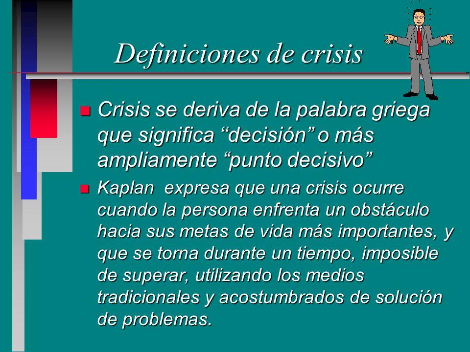 Definiciones de crisis n Crisis se deriva de la palabra griega que significa decisión o más ampliamente punto decisivo n Kaplan expresa que una crisis