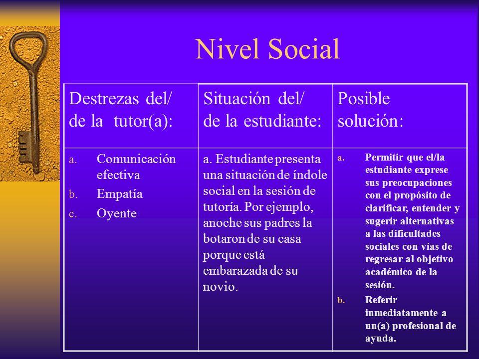Nivel Académico Destrezas del/de la Tutor(a) Situación del/de la estudiante Posible solución a.