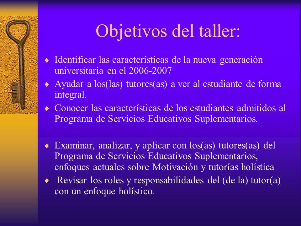 Objetivos del taller: Identificar las características de la nueva generación universitaria en el 2006-2007 Ayudar a los(las) tutores(as) a ver al estudiante de forma integral.
