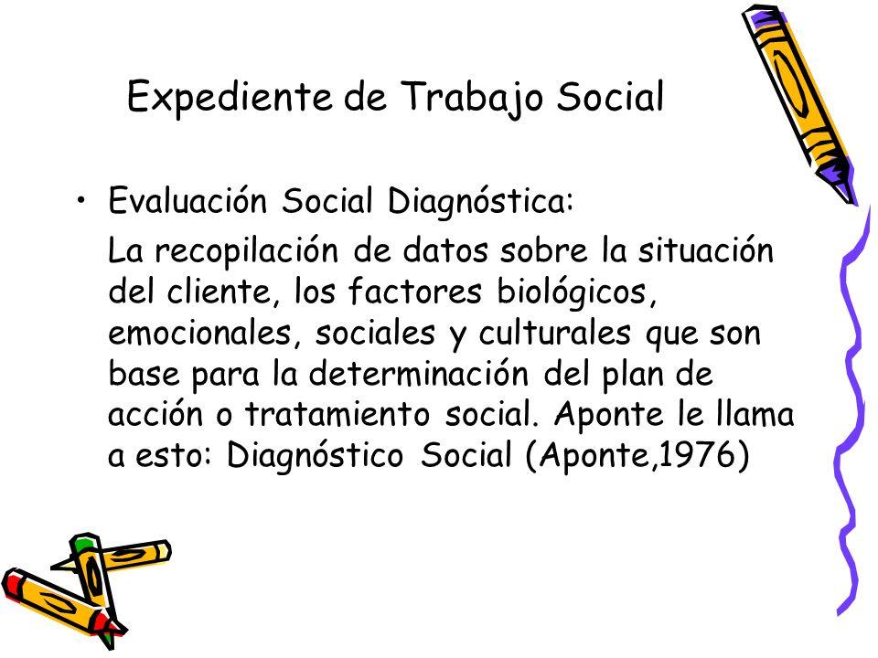 Evaluación Social Diagnóstica Parte de la declaración de la naturaleza de los problemas del cliente y los factores relacionados Énfasis en los enfoques de solución de problemas y de tareas Se da mediante el acuerdo entre el cliente y el T.S.