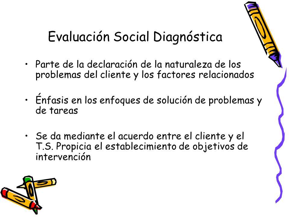 Evaluación Social Diagnóstica La base de la evaluación diagnóstica es una dinámica fluida y continua Asume la noción de complejidad, hipótesis de trabajo Se asumen nuevas nociones de la situación social (cliente/participante)