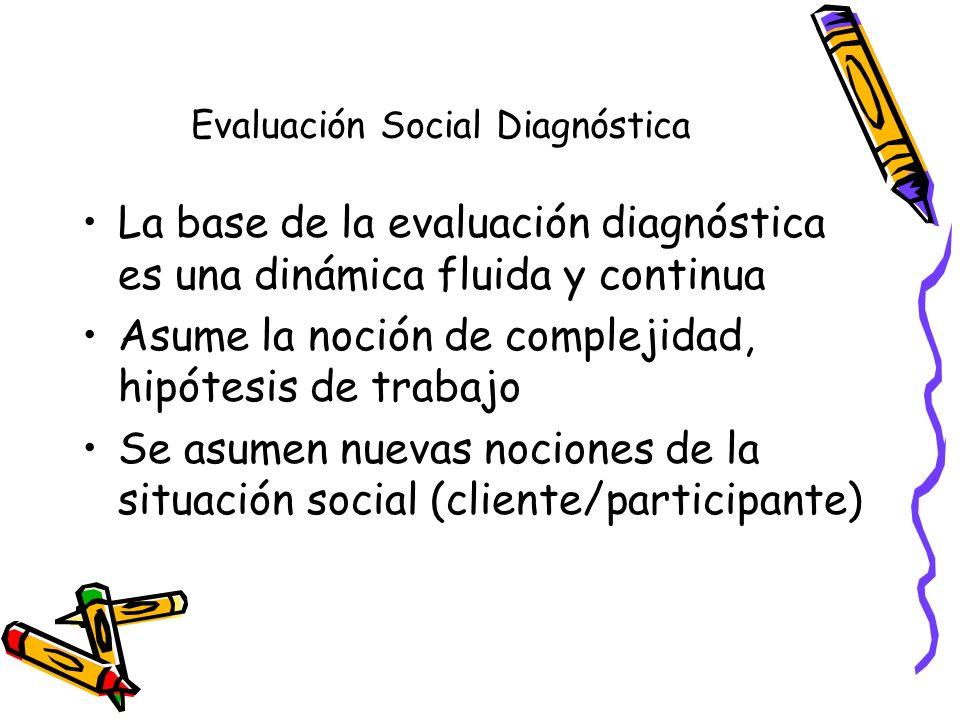 Evaluación Social Diagnóstica Parte de la perspectiva de enfoques sistémicos y sus variantes ecológicas y estructurales y de solución de problemas Incorpora la noción de avalúo o ponderación, lo que en inglés conocemos como assesment