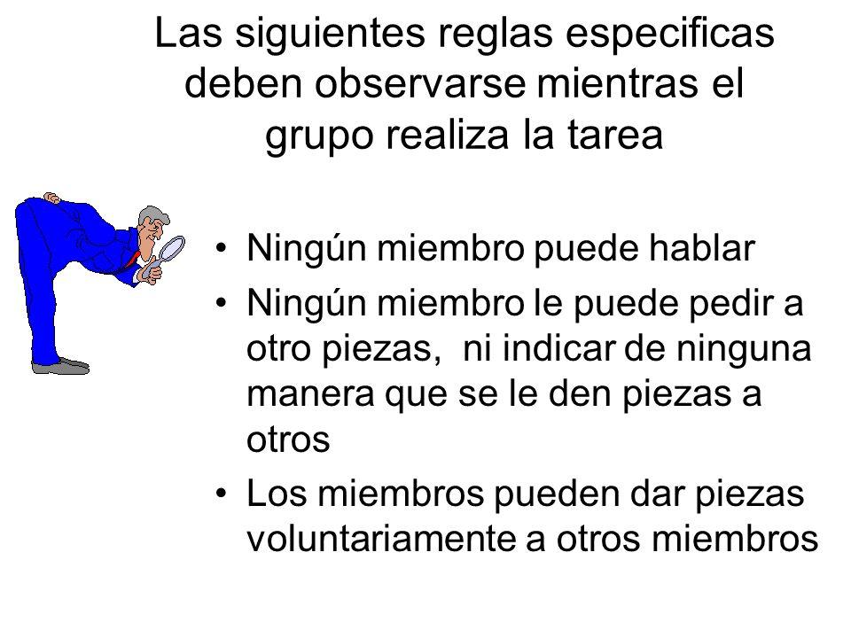Las siguientes reglas especificas deben observarse mientras el grupo realiza la tarea Ningún miembro puede hablar Ningún miembro le puede pedir a otro piezas, ni indicar de ninguna manera que se le den piezas a otros Los miembros pueden dar piezas voluntariamente a otros miembros
