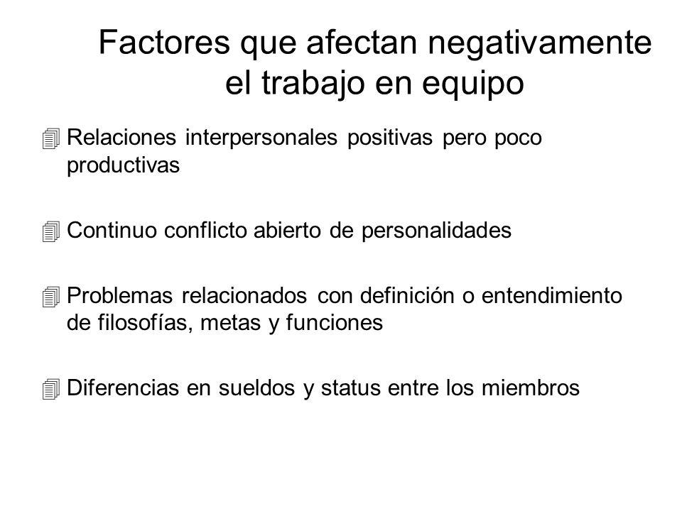 Ingredientes claves de los equipos de trabajo éComunicación constante y efectiva éVariedad de trasfondos, destrezas y habilidades éPropósito común y c