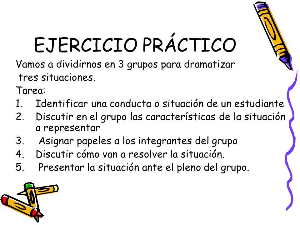 EJERCICIO PRÁCTICO Vamos a dividirnos en 3 grupos para dramatizar tres situaciones. Tarea: 1.Identificar una conducta o situación de un estudiante 2.D
