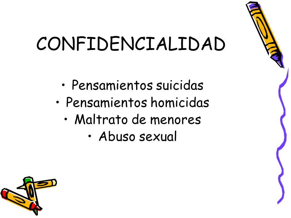 CONFIDENCIALIDAD Pensamientos suicidas Pensamientos homicidas Maltrato de menores Abuso sexual