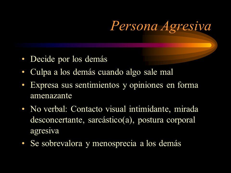 Persona Agresiva No verbal: Contacto visual intimidante, mirada desconcertante, sarcástico(a), postura corporal agresiva Se sobrevalora y menosprecia