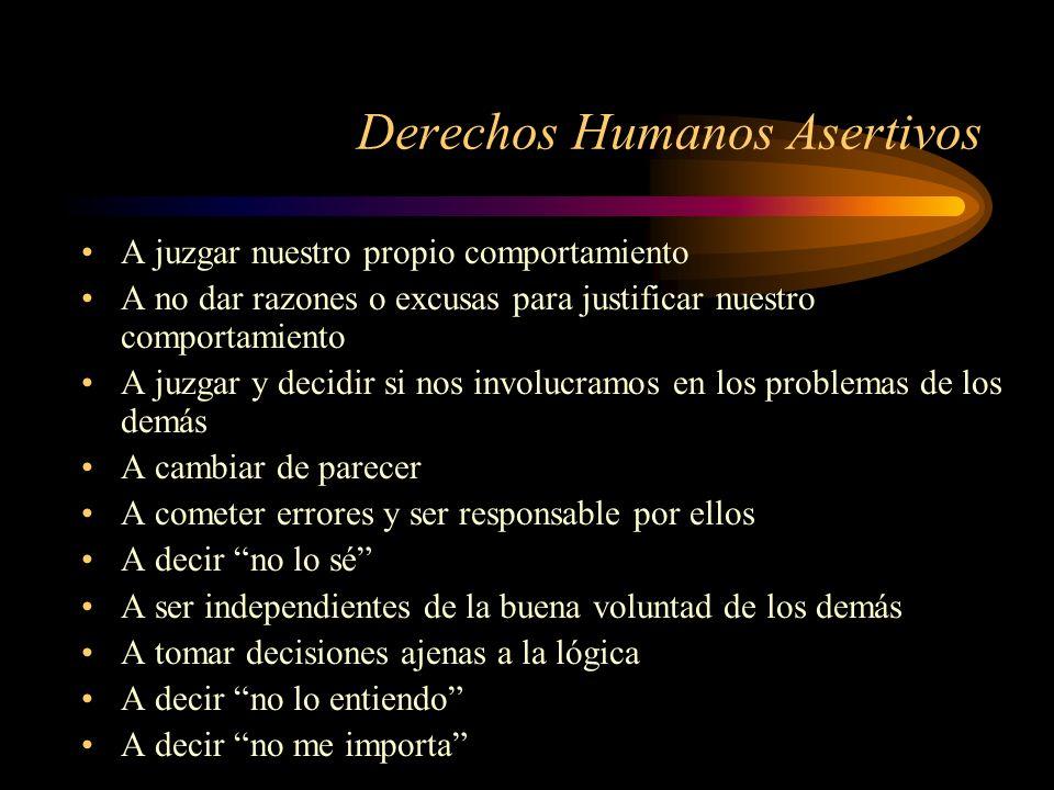 Derechos Humanos Asertivos A juzgar nuestro propio comportamiento A no dar razones o excusas para justificar nuestro comportamiento A juzgar y decidir