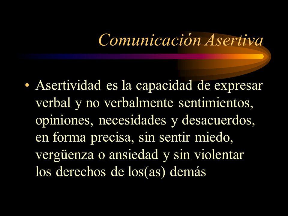 Comunicación Asertiva Asertividad es la capacidad de expresar verbal y no verbalmente sentimientos, opiniones, necesidades y desacuerdos, en forma pre