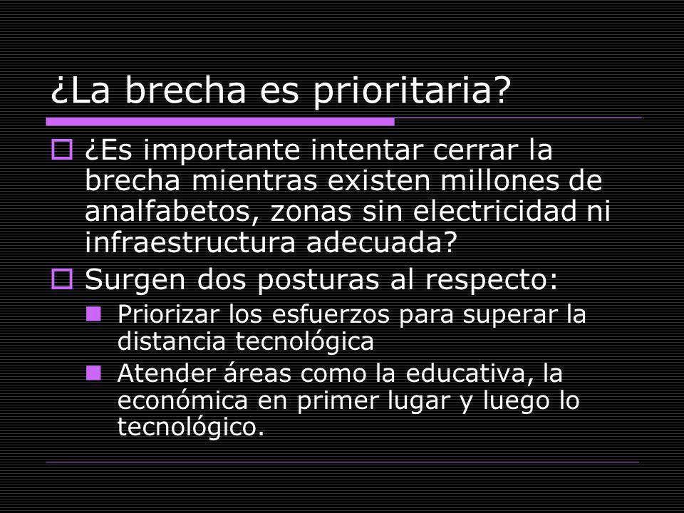 ¿La brecha es prioritaria? ¿Es importante intentar cerrar la brecha mientras existen millones de analfabetos, zonas sin electricidad ni infraestructur