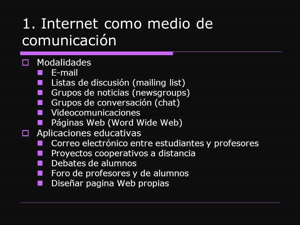 1. Internet como medio de comunicación Modalidades E-mail Listas de discusión (mailing list) Grupos de noticias (newsgroups) Grupos de conversación (c