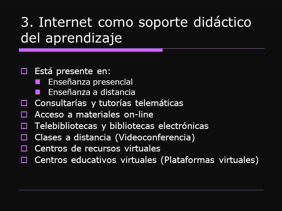 3. Internet como soporte didáctico del aprendizaje Está presente en: Enseñanza presencial Enseñanza a distancia Consultarías y tutorías telemáticas Ac