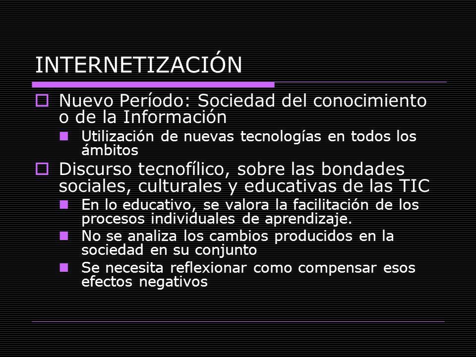 INTERNETIZACIÓN Nuevo Período: Sociedad del conocimiento o de la Información Utilización de nuevas tecnologías en todos los ámbitos Discurso tecnofíli
