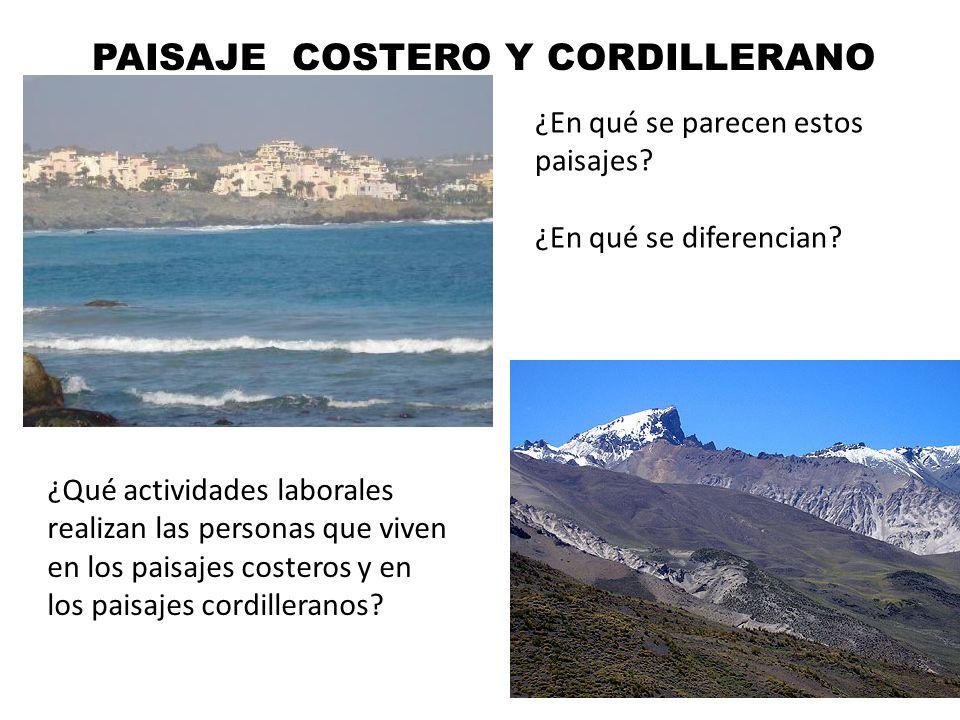 PAISAJE COSTERO Y CORDILLERANO ¿En qué se parecen estos paisajes.