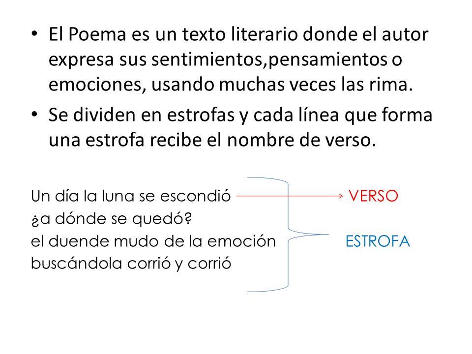 El Poema es un texto literario donde el autor expresa sus sentimientos,pensamientos o emociones, usando muchas veces las rima. Se dividen en estrofas
