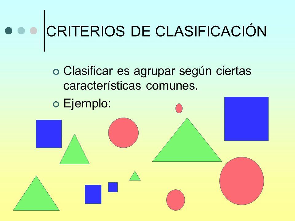 CRITERIOS DE CLASIFICACIÓN Clasificar es agrupar según ciertas características comunes. Ejemplo: