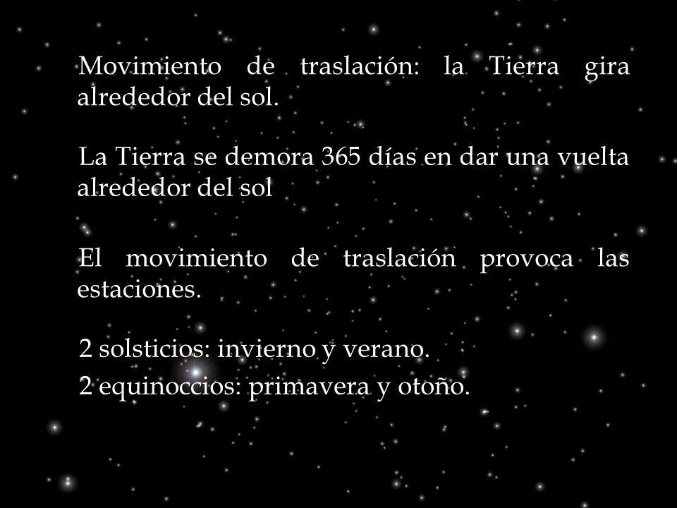 Movimiento de traslación: la Tierra gira alrededor del sol. La Tierra se demora 365 días en dar una vuelta alrededor del sol 2 solsticios: invierno y