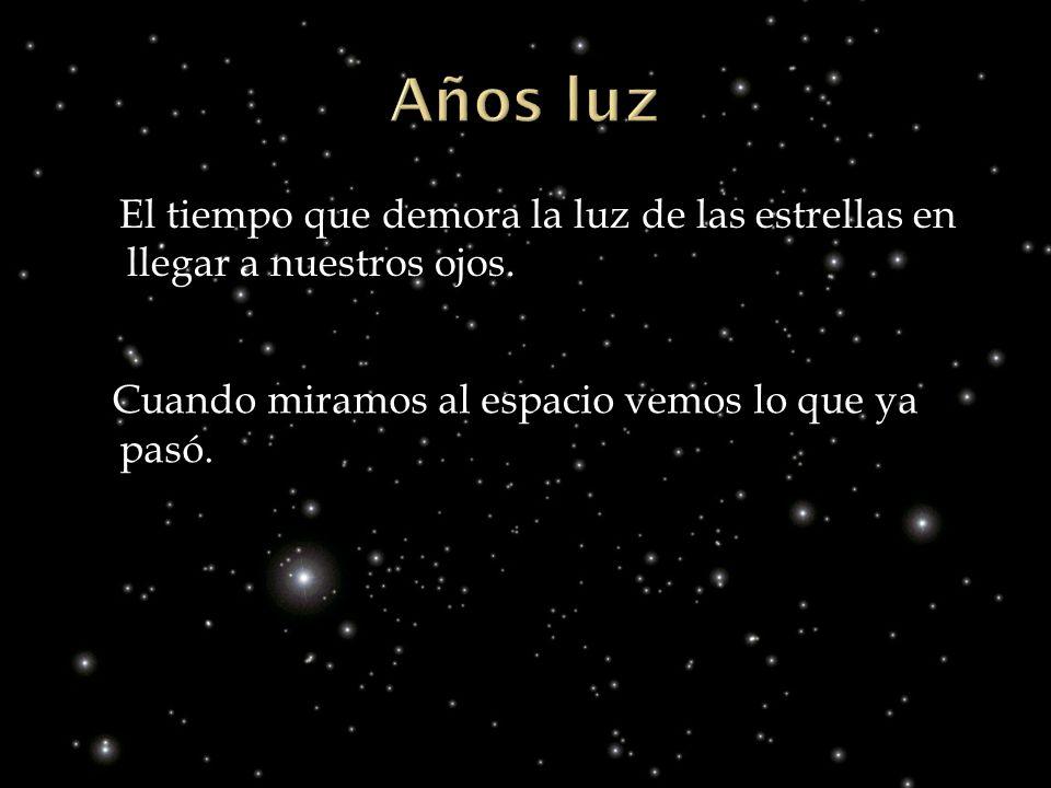 El tiempo que demora la luz de las estrellas en llegar a nuestros ojos. Cuando miramos al espacio vemos lo que ya pasó.