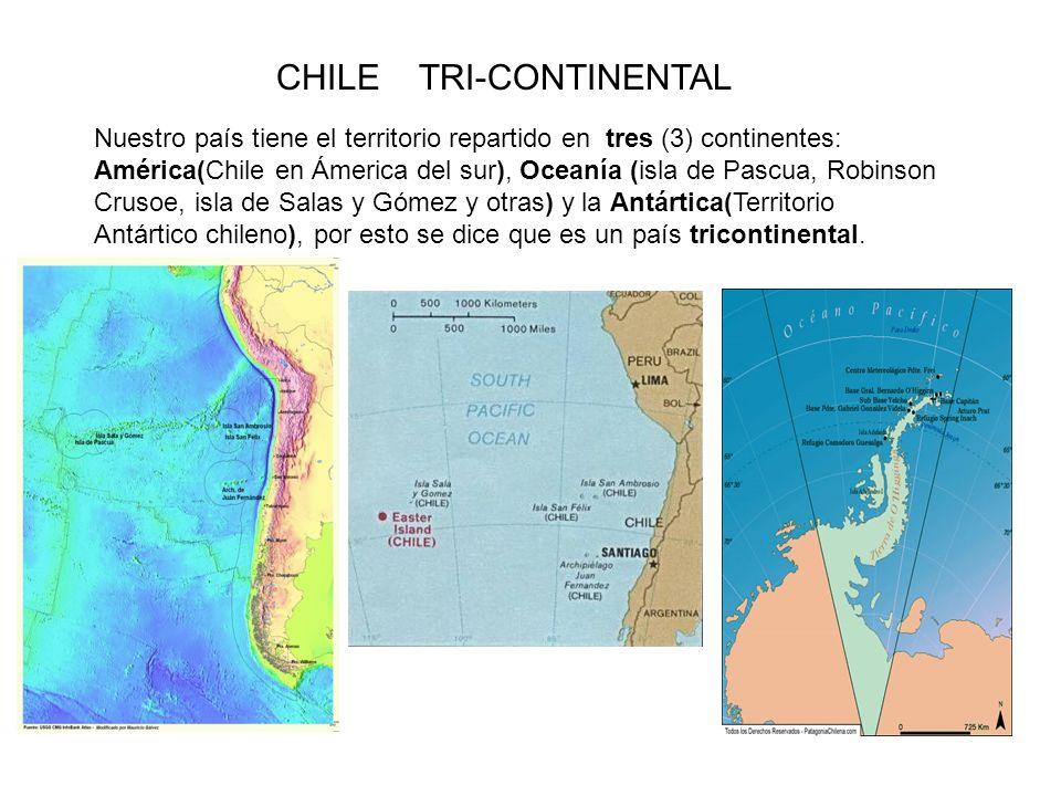 CHILE TRI-CONTINENTAL Nuestro país tiene el territorio repartido en tres (3) continentes: América(Chile en Ámerica del sur), Oceanía (isla de Pascua,