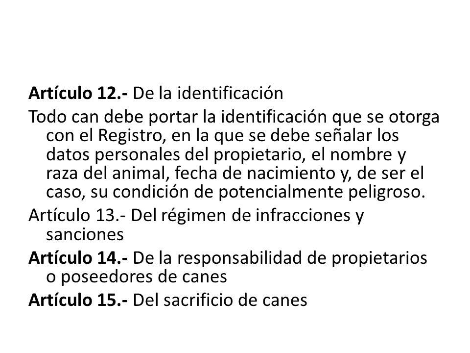 Artículo 12.- De la identificación Todo can debe portar la identificación que se otorga con el Registro, en la que se debe señalar los datos personale