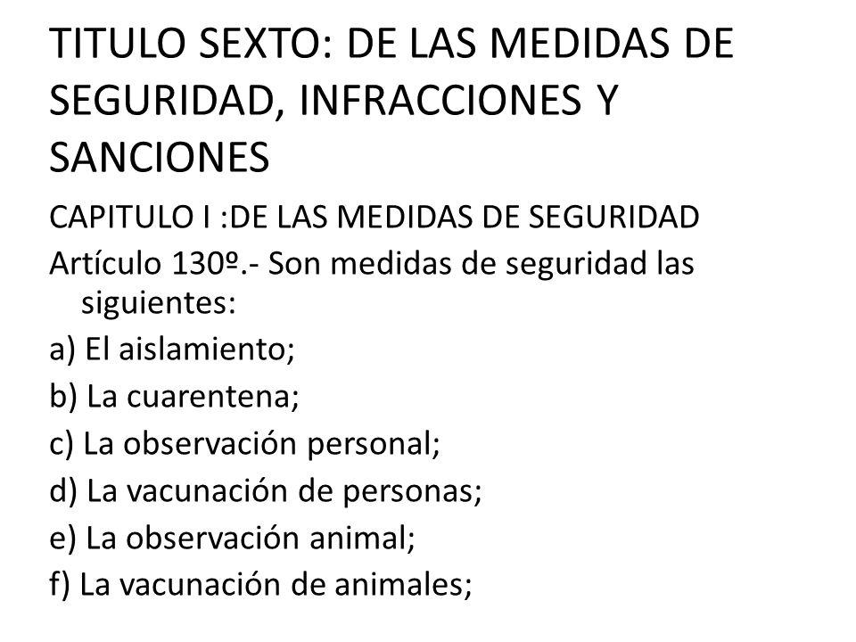 TITULO SEXTO: DE LAS MEDIDAS DE SEGURIDAD, INFRACCIONES Y SANCIONES CAPITULO I :DE LAS MEDIDAS DE SEGURIDAD Artículo 130º.- Son medidas de seguridad l
