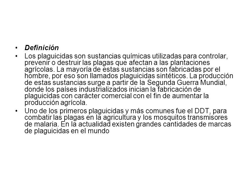 Definición Los plaguicidas son sustancias químicas utilizadas para controlar, prevenir o destruir las plagas que afectan a las plantaciones agrícolas.