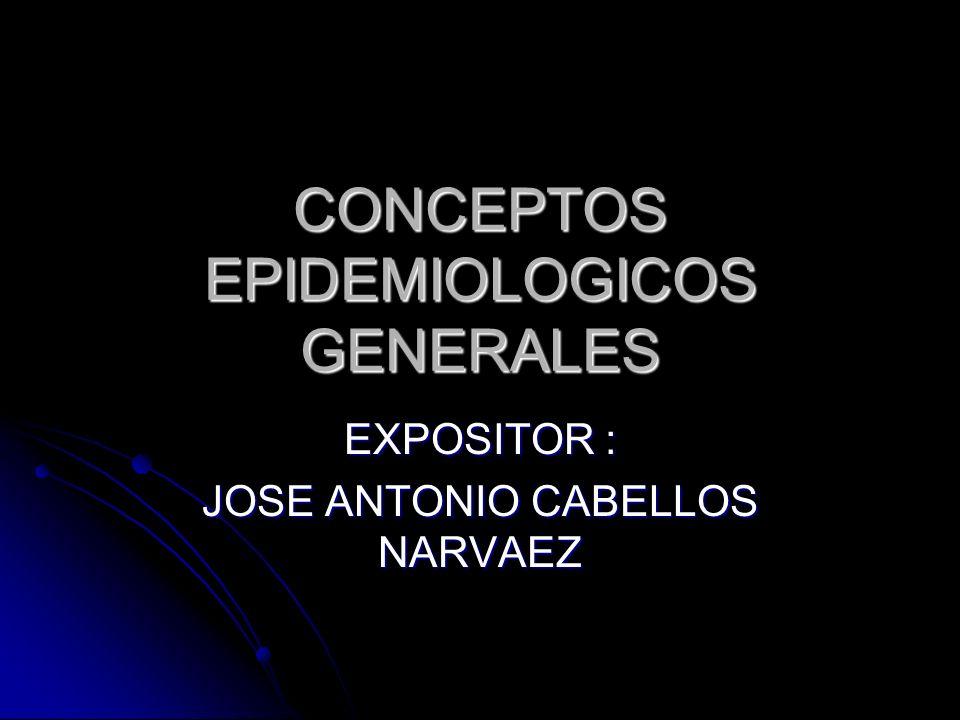 CONCEPTOS EPIDEMIOLOGICOS GENERALES EXPOSITOR : JOSE ANTONIO CABELLOS NARVAEZ