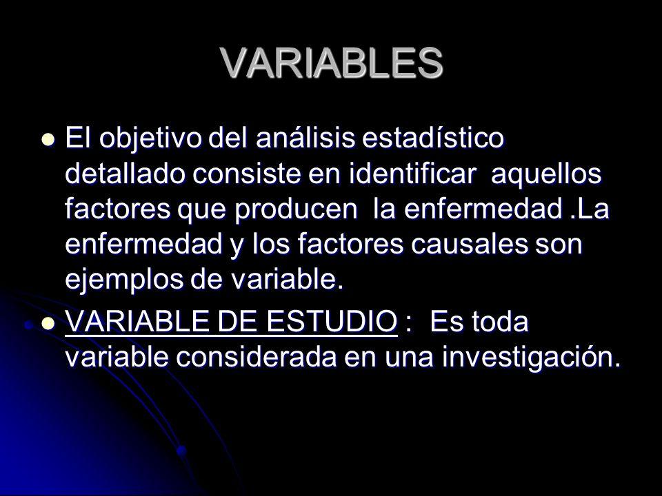VARIABLES El objetivo del análisis estadístico detallado consiste en identificar aquellos factores que producen la enfermedad.La enfermedad y los fact