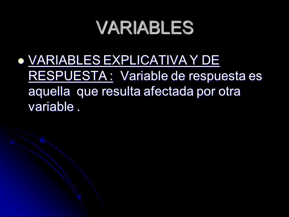 VARIABLES VARIABLES EXPLICATIVA Y DE RESPUESTA : Variable de respuesta es aquella que resulta afectada por otra variable. VARIABLES EXPLICATIVA Y DE R