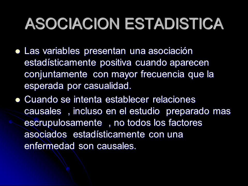 ASOCIACION ESTADISTICA Las variables presentan una asociación estadísticamente positiva cuando aparecen conjuntamente con mayor frecuencia que la espe