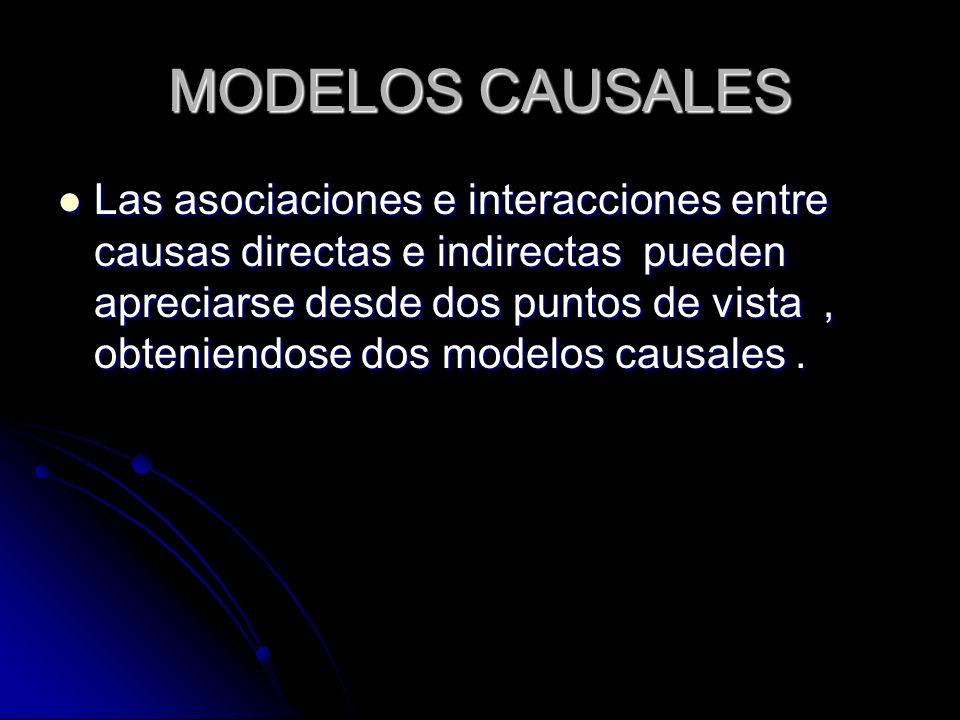 MODELOS CAUSALES Las asociaciones e interacciones entre causas directas e indirectas pueden apreciarse desde dos puntos de vista, obteniendose dos mod