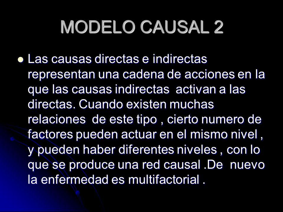 MODELO CAUSAL 2 Las causas directas e indirectas representan una cadena de acciones en la que las causas indirectas activan a las directas. Cuando exi