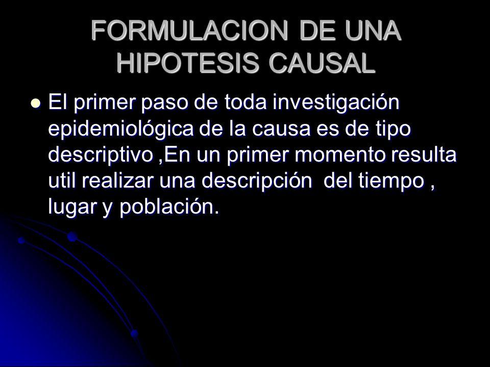 FORMULACION DE UNA HIPOTESIS CAUSAL El primer paso de toda investigación epidemiológica de la causa es de tipo descriptivo,En un primer momento result