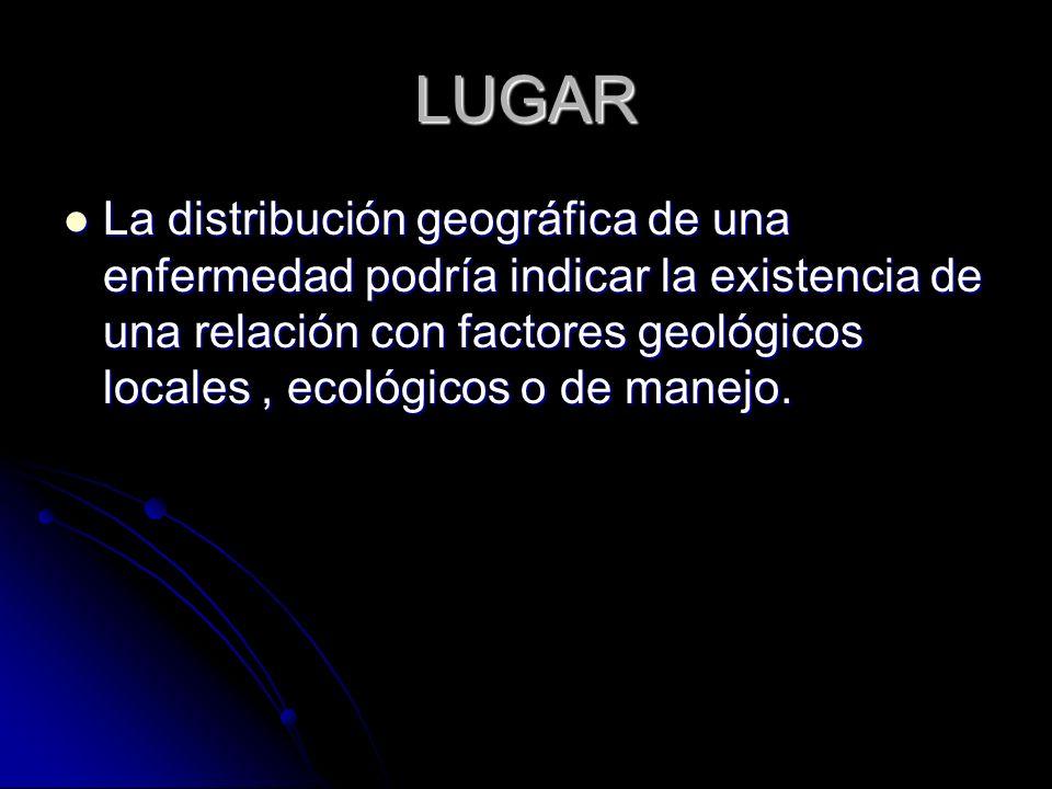 LUGAR La distribución geográfica de una enfermedad podría indicar la existencia de una relación con factores geológicos locales, ecológicos o de manej