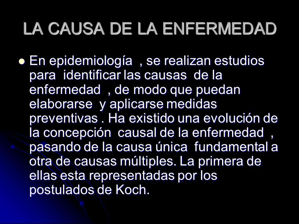 LA CAUSA DE LA ENFERMEDAD En epidemiología, se realizan estudios para identificar las causas de la enfermedad, de modo que puedan elaborarse y aplicar