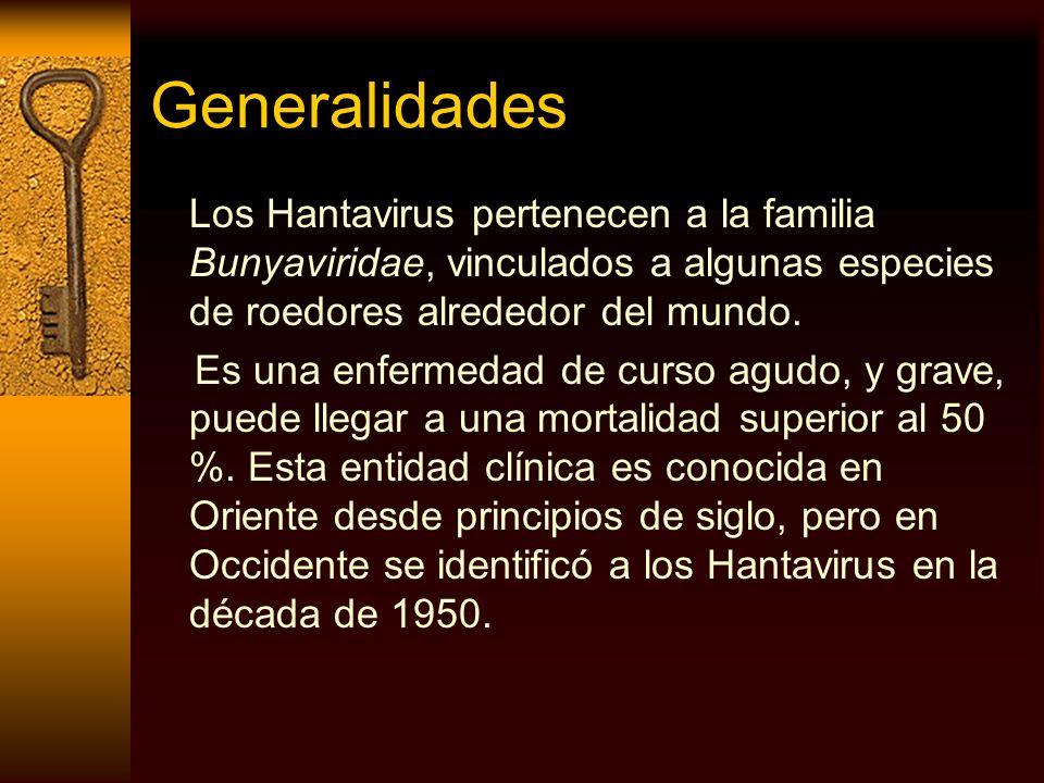 Generalidades Los Hantavirus pertenecen a la familia Bunyaviridae, vinculados a algunas especies de roedores alrededor del mundo. Es una enfermedad de