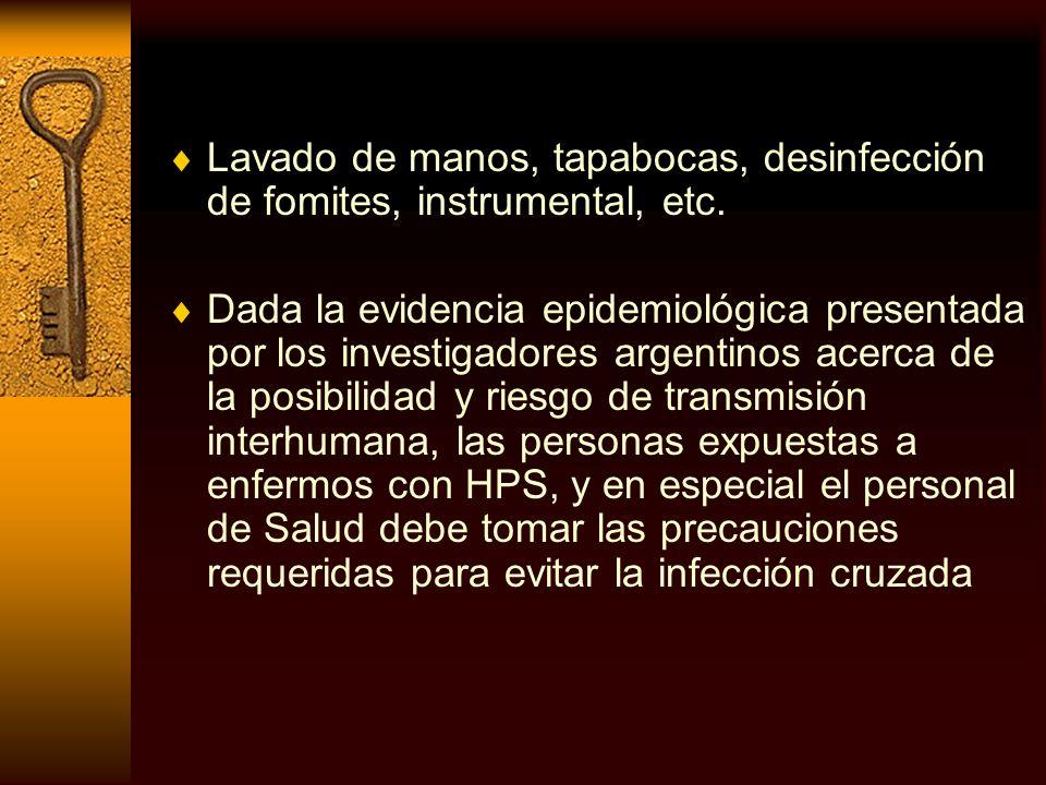 Lavado de manos, tapabocas, desinfección de fomites, instrumental, etc. Dada la evidencia epidemiológica presentada por los investigadores argentinos