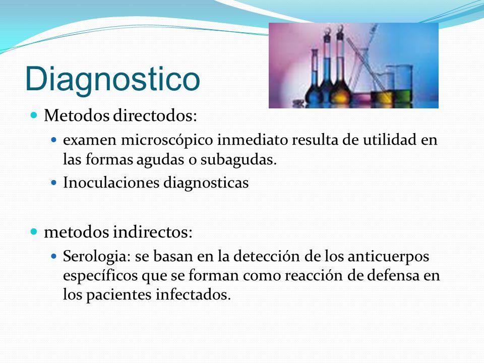 Diagnostico Metodos directodos: examen microscópico inmediato resulta de utilidad en las formas agudas o subagudas. Inoculaciones diagnosticas metodos