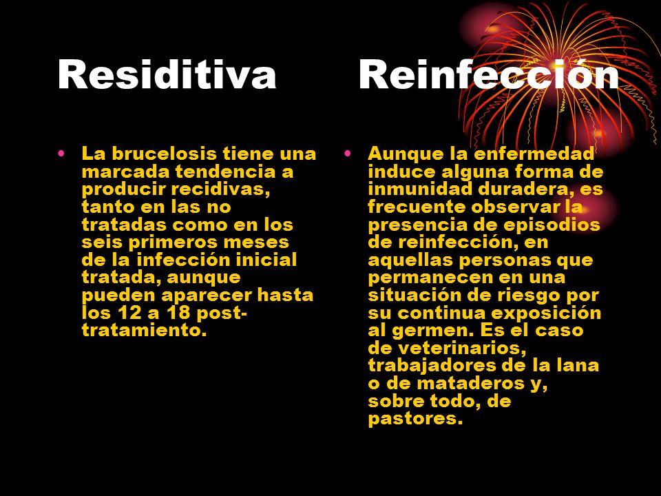 Residitiva Reinfección La brucelosis tiene una marcada tendencia a producir recidivas, tanto en las no tratadas como en los seis primeros meses de la