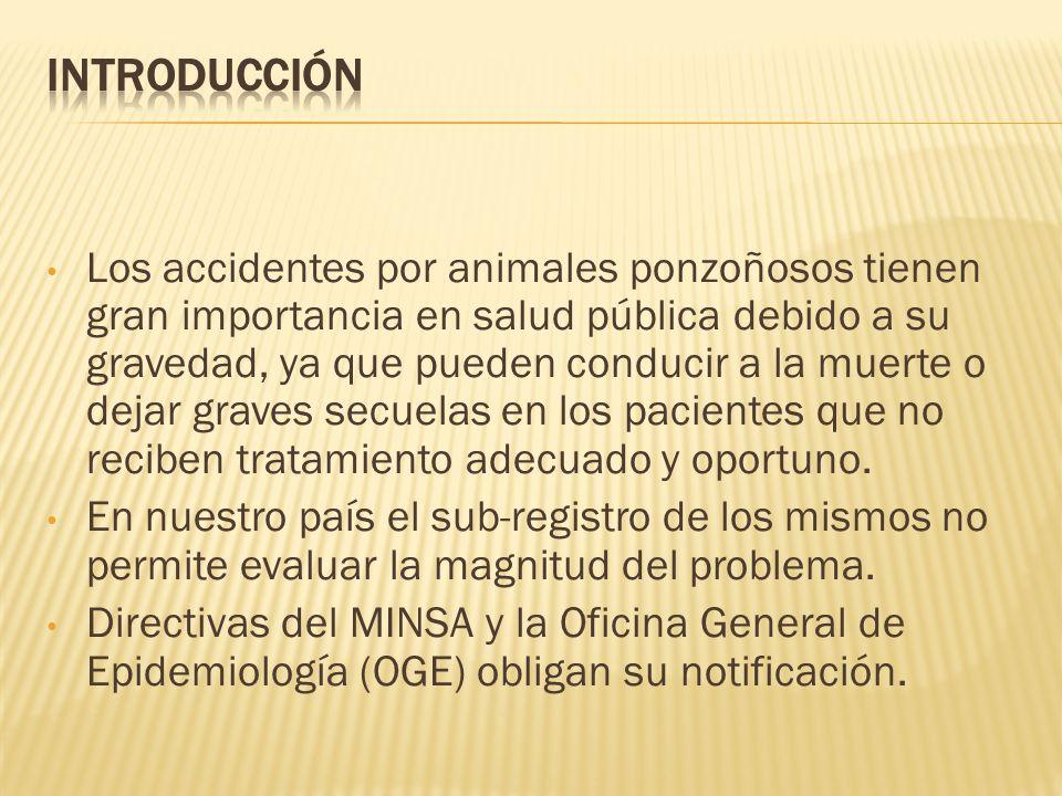 Los accidentes por animales ponzoñosos tienen gran importancia en salud pública debido a su gravedad, ya que pueden conducir a la muerte o dejar grave