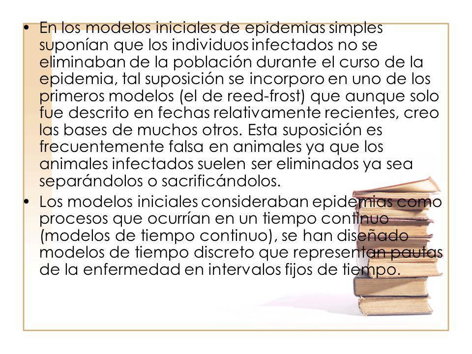 En los modelos iniciales de epidemias simples suponían que los individuos infectados no se eliminaban de la población durante el curso de la epidemia,