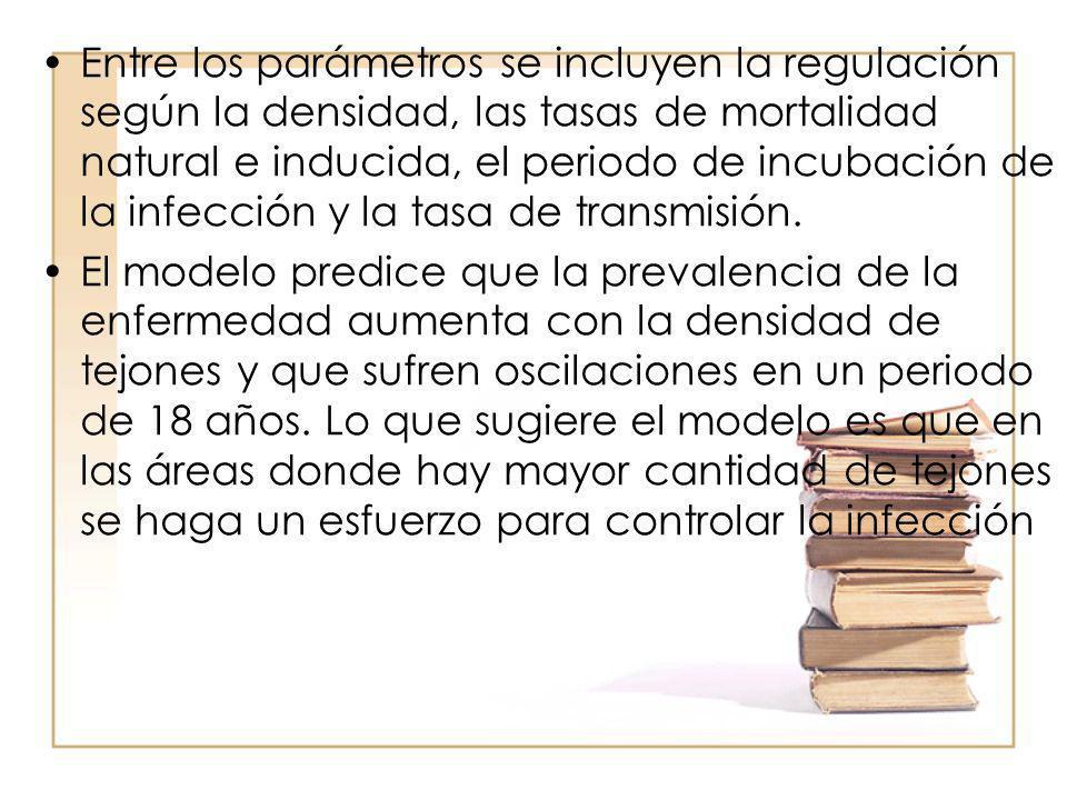 Entre los parámetros se incluyen la regulación según la densidad, las tasas de mortalidad natural e inducida, el periodo de incubación de la infección