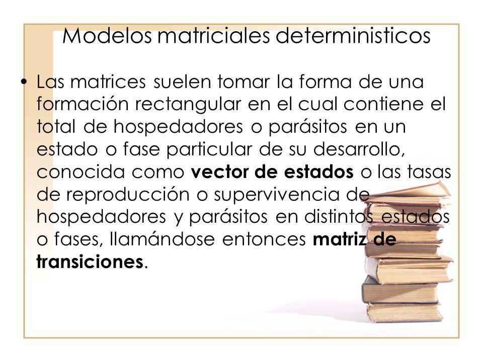 Modelos matriciales deterministicos Las matrices suelen tomar la forma de una formación rectangular en el cual contiene el total de hospedadores o par