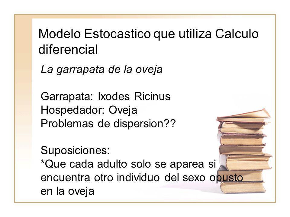 Modelo Estocastico que utiliza Calculo diferencial La garrapata de la oveja Garrapata: Ixodes Ricinus Hospedador: Oveja Problemas de dispersion?? Supo