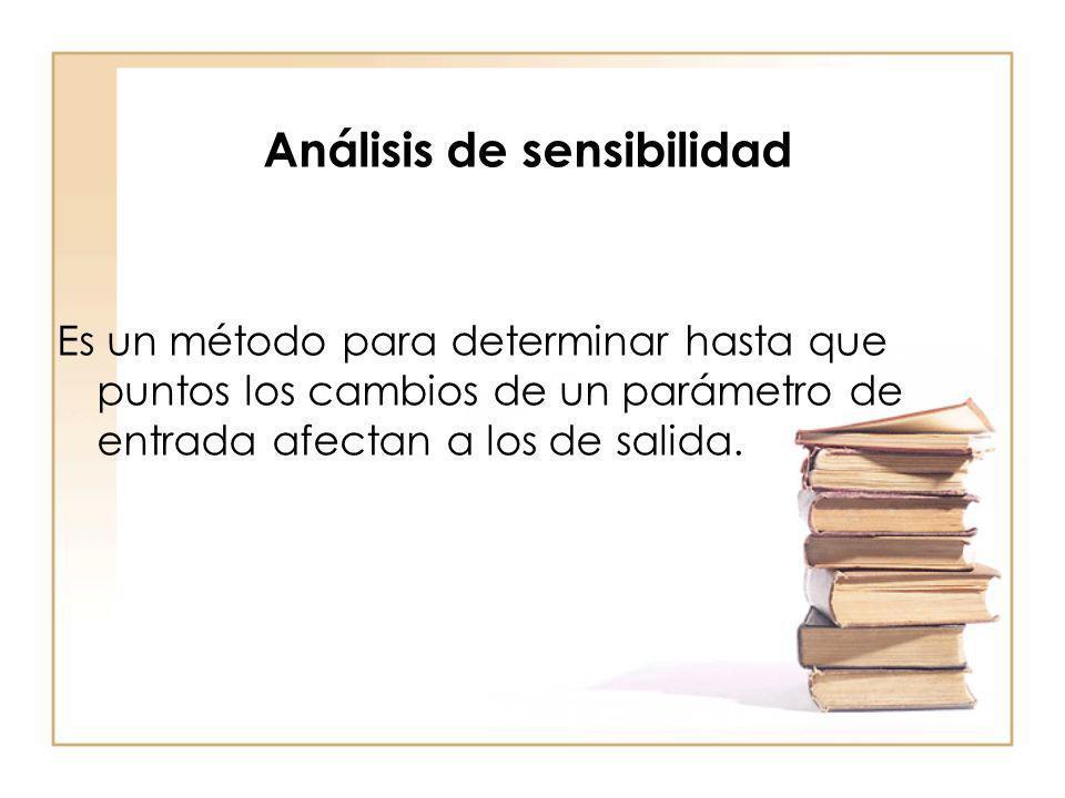 Análisis de sensibilidad Es un método para determinar hasta que puntos los cambios de un parámetro de entrada afectan a los de salida.