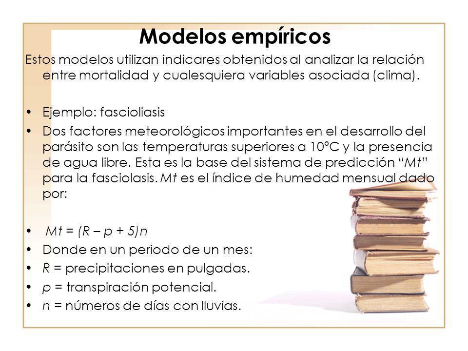 Modelos empíricos Estos modelos utilizan indicares obtenidos al analizar la relación entre mortalidad y cualesquiera variables asociada (clima). Ejemp