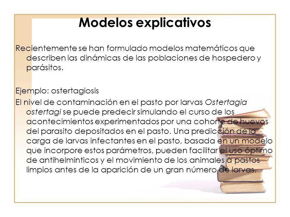 Modelos explicativos Recientemente se han formulado modelos matemáticos que describen las dinámicas de las poblaciones de hospedero y parásitos. Ejemp
