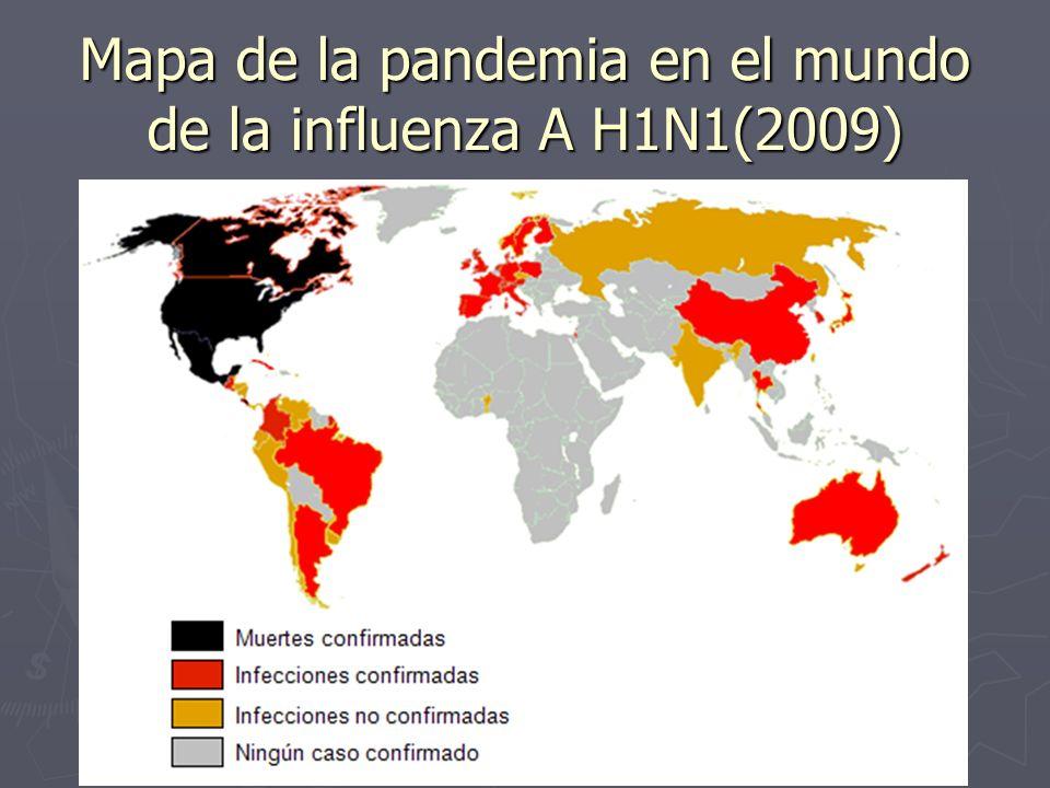 Mapa de la pandemia en el mundo de la influenza A H1N1(2009)